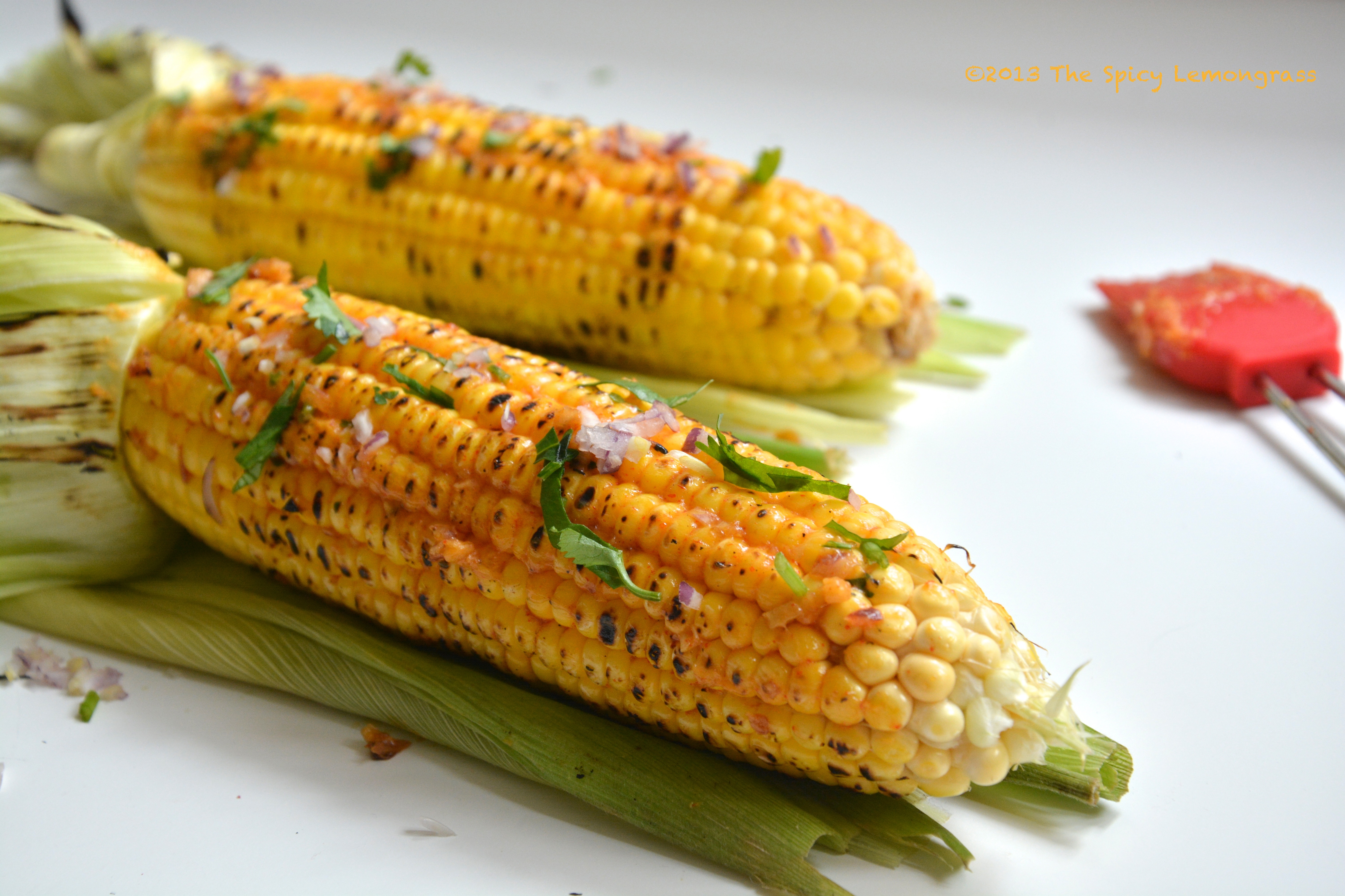 grilled corn with sriracha-cilantro butter the spicy lemongrass